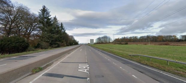 One lane on the A90 northbound of Brechin was closed following a two-vehicle crash.