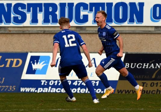 Peterhead midfielder Jordon Brown, right.