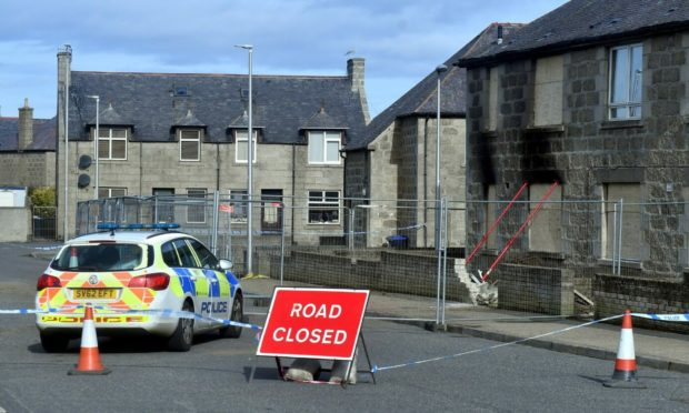 The scene of the explosion on Moray Road, Fraserburgh.