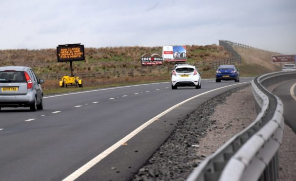 Road closure signage on the A90. Picture by Kath Flannery.