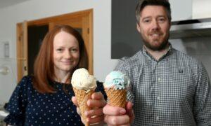 Martyn和Louise Brooks在Portlethen推出了疯牛冰,