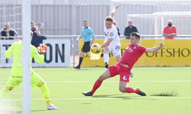 Fraser Fyvie nets the first of his two goals against Stirling. Picture by Darrell Benns
