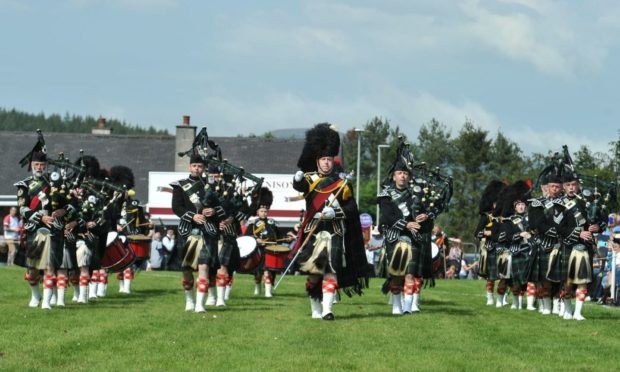 The Lonach Pipe Band at the Dufftown Highland Games in 2019