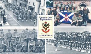 Various images of the Queen's Own Highlanders, a regiment which came into being in February 1961, following the amalgamation of the Seaforth and Cameron Highlanders.