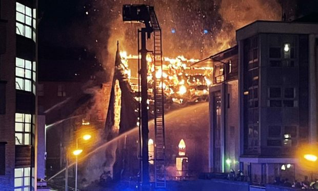 The blaze at St Simon's Church in Glasgow on Wednesday morning.