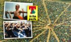 An aerial view of tents at T in the Park in 1999 with revellers from 1997 and 1998 inset.