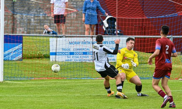 Scott Barbour, left, scores Fraserburgh's equaliser in the Evening Express Aberdeenshire Cup semi-final against Keith