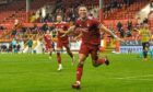 Aberdeen forward Christian Ramirez celebrates his first goal for the club.