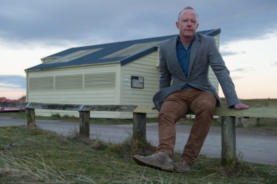 Moray Speyside Tourism's  Laurie Piper   is pictured at the toilets in Findhorn beach in Moray.