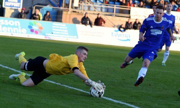 Formartine United goalkeeper Ewen Macdonald, left