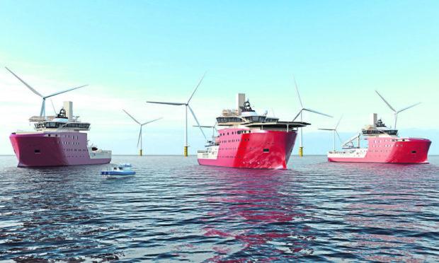 Wind farm in the North Sea.