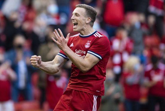 Aberdeen's Lewis Ferguson celebrates his second goal against BK Hacken.