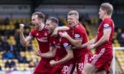 Aberdeen's Teddy Jenks celebrates his equaliser during a cinch Premiership match at Livingston.