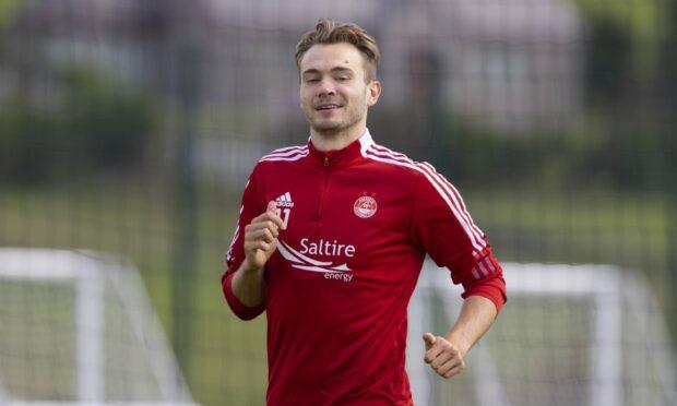 Aberdeen attacker Ryan Hedges in training before the tie against Breidablik.
