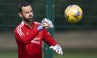 Joe Lewis during training ahead of Aberdeen's Euro tie
