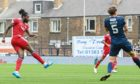 Jay Emmanuel-Thomas gives the away side the lead during the Premier Sports Cup match against Raith Rovers.