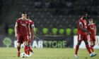 Aberdeen's players are after conceding against Qarabag.