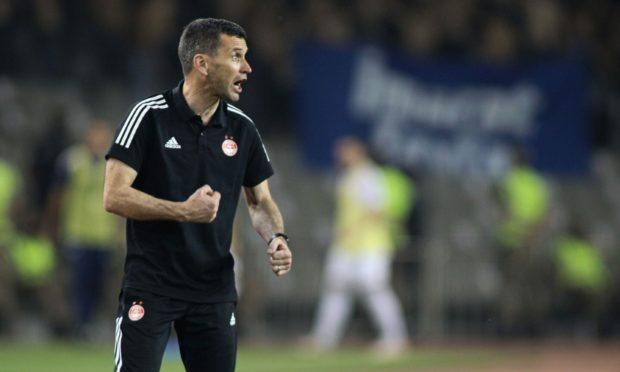Aberdeen manager Stephen Glass during the UEFA Conference League tie with Qarabag.