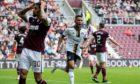 Aberdeen's Funso Ojo celebrates making it 1-1 against Hearts