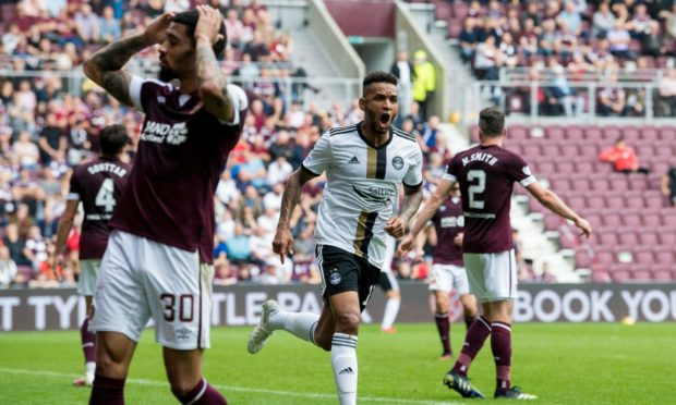 Funso Ojo scored his first goal for Aberdeen at Tynecastle