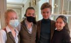 Thomas Brodie-Sangster with staff at the Banchory Lodge Hotel.