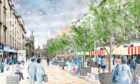 Concept images of the central part of Union Street, pedestrianised permanently.