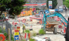 The roadworks at the Haudagain Roundabout.