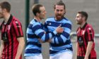 Banks o'Dee defender Matt Robertson is congratulated by Michael Philipson after scoring against Inverurie Locos.