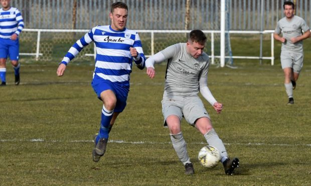 Hermes, in the grey, and Dyce, blue and white, will meet in the Evening Express Aberdeenshire Cup