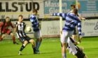 Banks o' Dee's Mark Gilmour, right, scores their second goal against Fraserburgh