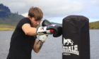 Ryan Hunter training ahead of the Aberdeen bout. Photo: Cancer Research UK