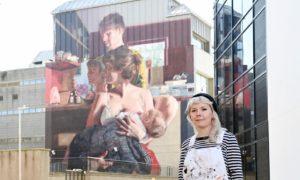 Nuart artist Helen Bur with her stunning artwork on Union Row, Aberdeen.