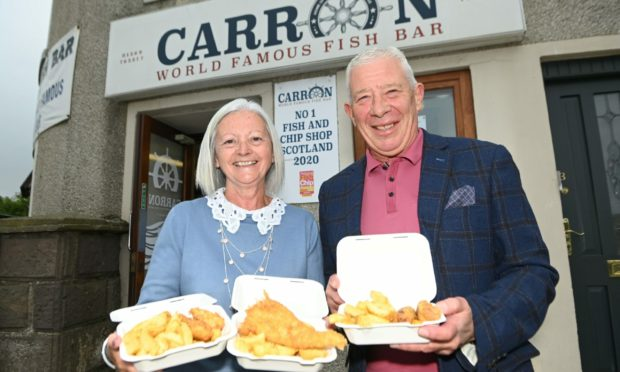 Lorraine and Charlie Watson, owners of The Carron Fish Bar.