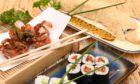 CR0030255  Society food review Pics   Yorokobi by CJ   51 Huntly Street   Aberdeen   Pictured is Sakekana Maki  ( Crispy Salmon Skin Roll ) and  Avocado Maki  with Chicken Karaange   Picture by Paul Glendell     20/08/2021