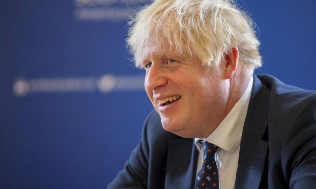 Prime Minister Boris Johnson on a visit to Tulliallan on Wednesday