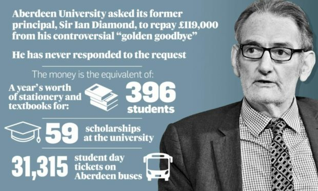 Sir Ian Diamond has still not responded to Aberdeen University's request for him to repay £119,000 - a year later.