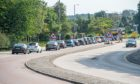 Traffic backing up on the A96/Auchmill Road on Saturday. Picture by Wullie Marr