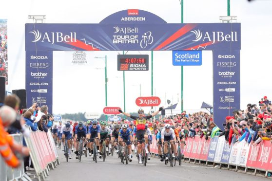 The north-east stage of the Tour of Britain was won by Wout van Aert.