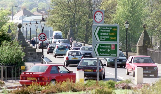 The busy Bridge of Dee roundabout.