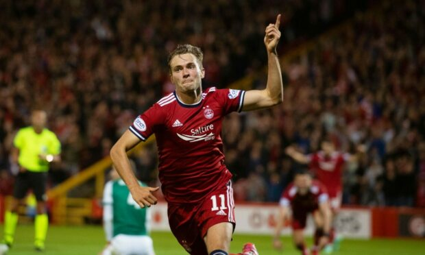 Ryan Hedges celebrates his goal to make it 2-1 Aberdeen against Breidablik in the Europa Conference League qualifier.