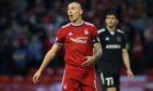 Scott Brown in action for Aberdeen against Qarabag