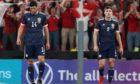 Scotland's Scott McKenna (left) and Kieran Tierney  during the FIFA World Cup Qualifier between Denmark and Scotland at the Parken Stadium