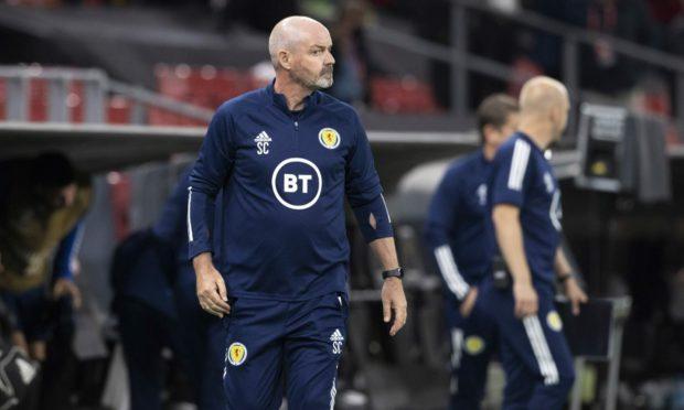Scotland head coach Steve Clarke during the FIFA World Cup Qualifier loss in Denmark.