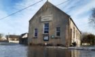 Flooding at the village hall in Garmouth in February 2021. Photo: DCT Media