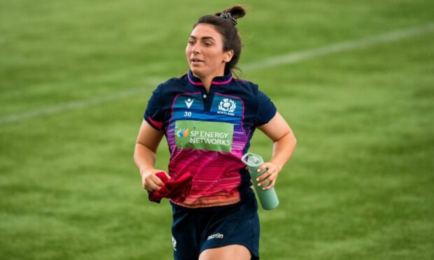 Emma Wassell is pictured during a Scotland Women's Rugby Training session at the Oriam