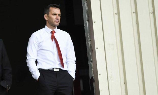 Aberdeen manager Stephen Glass during the 2-0 loss to Motherwell in the Premiership.