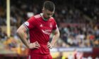 Aberdeen's Declan Gallagher during the 2-0 Premiership loss at Motherwell.