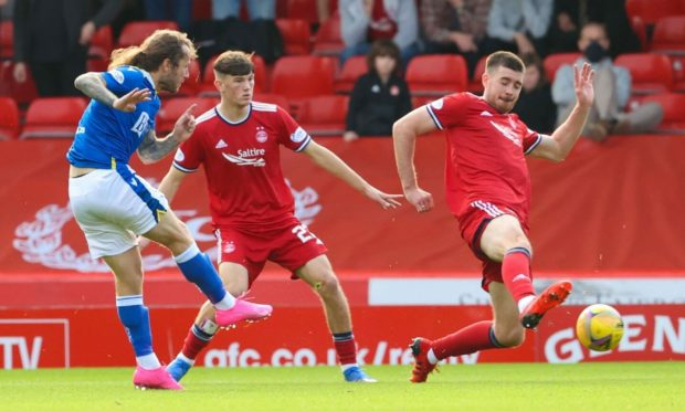 Steve May of St Johnstone scores during the cinch Premiership match between Aberdeen and St Johnstone at Pittodrie Stadium on September 18, 2021, in Aberdeen, Scotland.  (Photo by Alan Harvey / SNS Group)