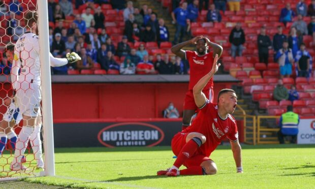 Aberdeen's Christian Ramirez is dejected following a missed chance against St Johnstone.