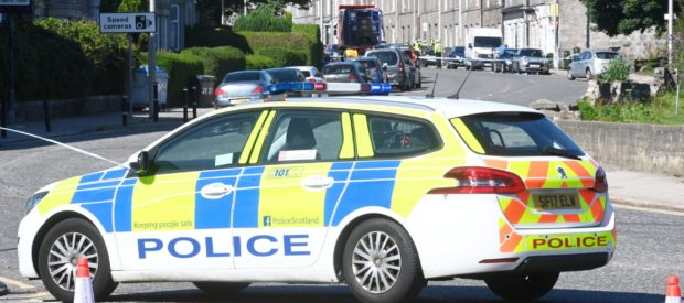 Police dealing with a road accident Great Northern Road Aberdeen. Picture by Chris Sumner.